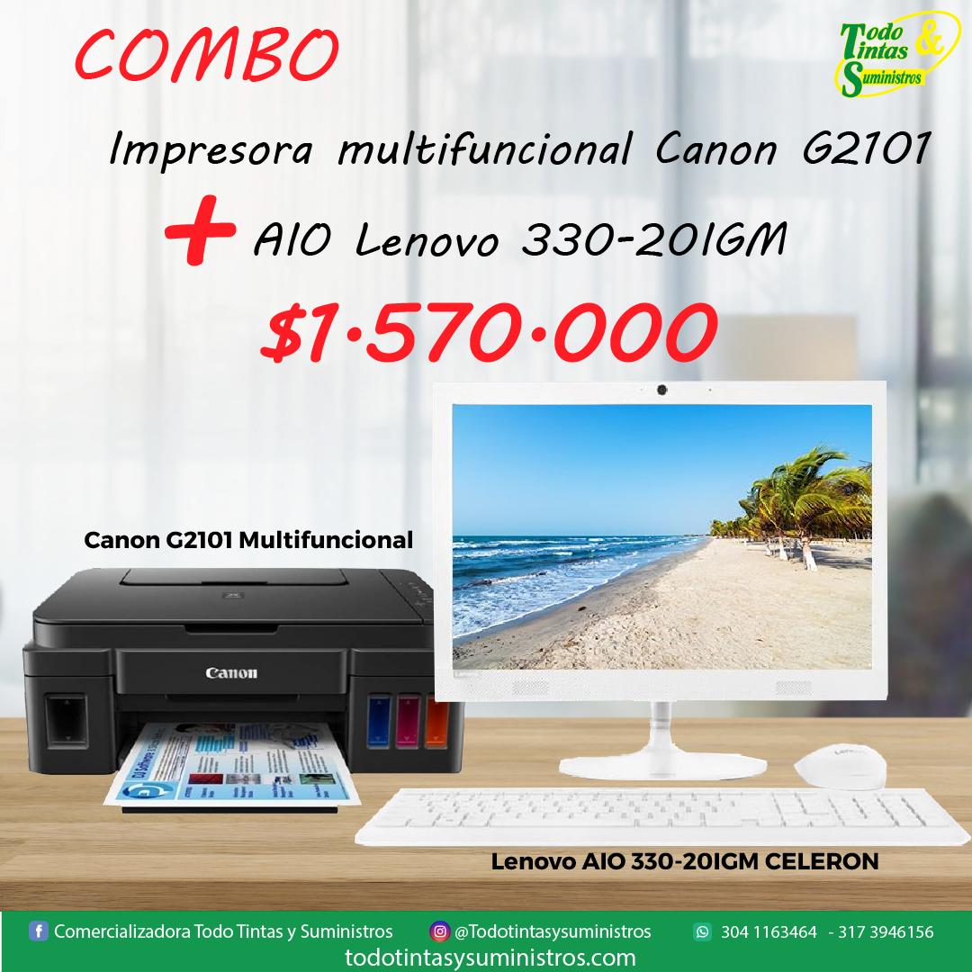 Combo Lenovo AIO 33020 IGM INTEL CELERON + IMPRESORA MULTIFUNCIONAL CANON
